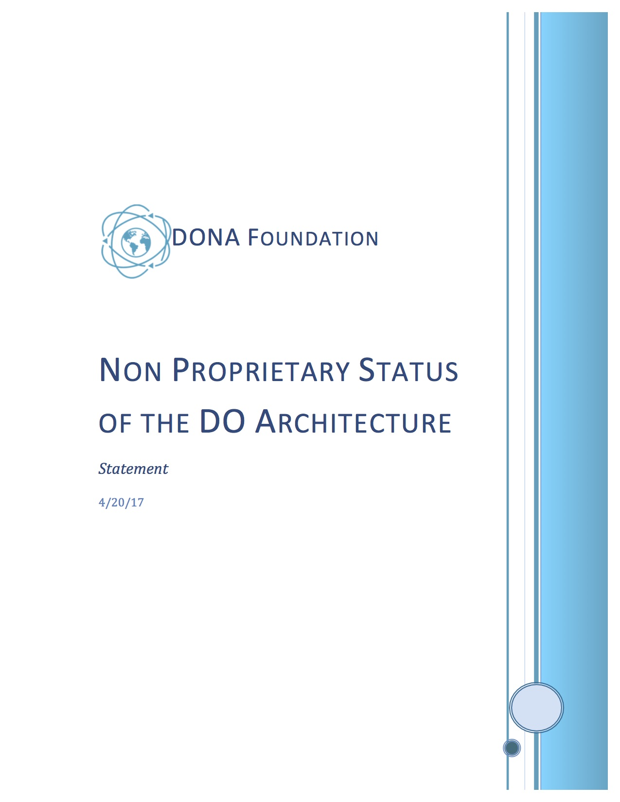 Non Proprietary Status of the DO Architecture