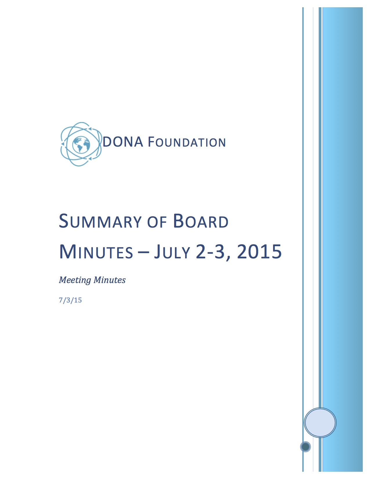 Summary of Board Minutes July 2-3, 2015
