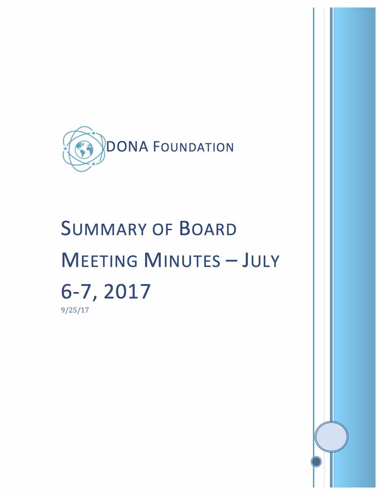 Summary of Board Minutes July 6-7, 2017
