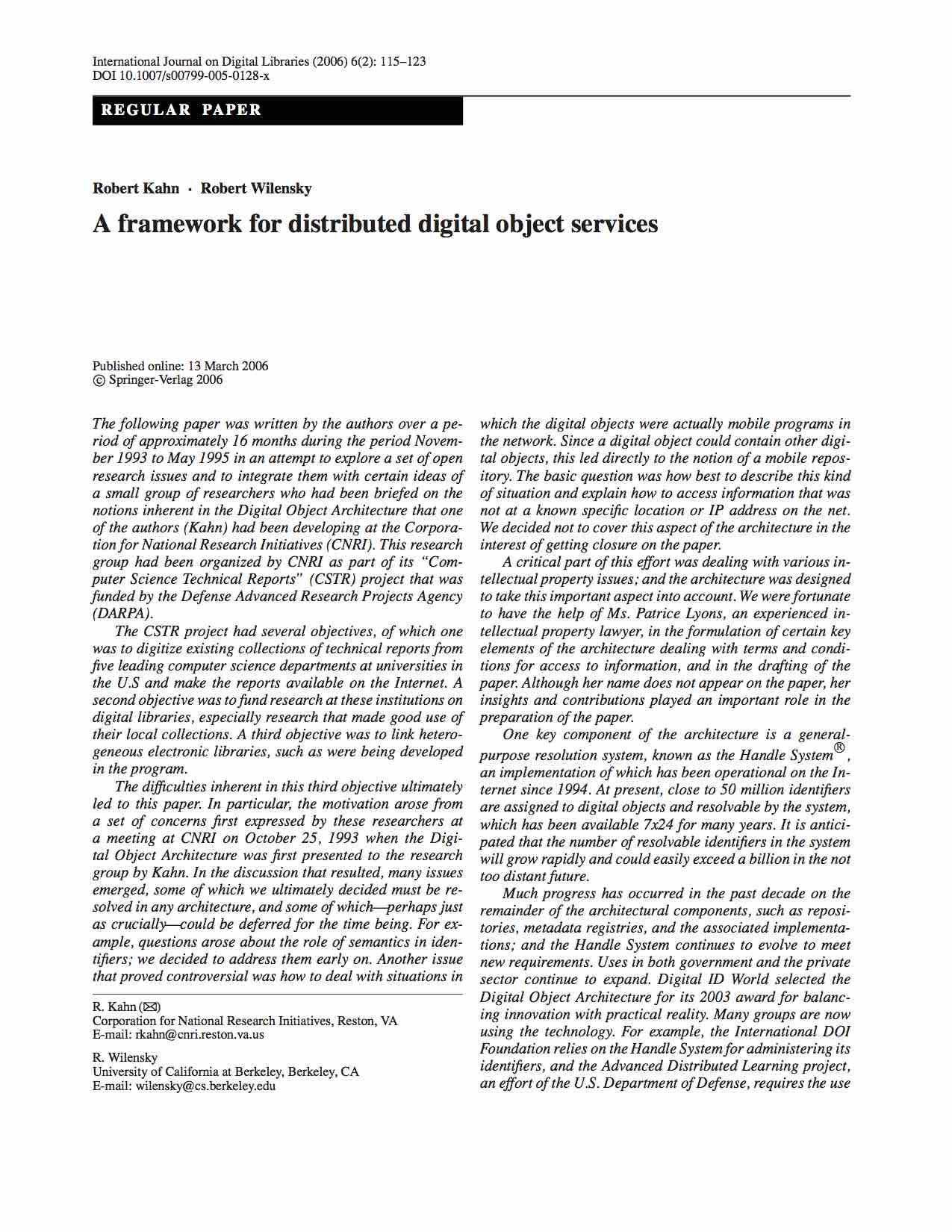 A Framework for Distributed Digital Object Services